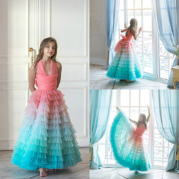 $enCountryForm.capitalKeyWord Australia - Colorful Flower Girl Dresses Tulle Tiered Skirts A Line Girls Pageant Dress Custom Made Halter Cute Kids Formal Gown
