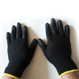 nylon coating Canada - 12 Pairs Black PU Nylon Builders Grip Palm Coating Gloves Accessories Gardening Protective Gloves Safety Work Non-slip