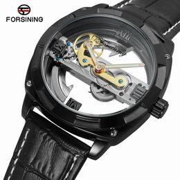Hollow Watches Men Australia - Dropshipping Forsining Black Genuine Leather Band Unique Transparent Hollow Design Man Outdoor Sport Mechanical Watch