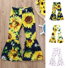 $enCountryForm.capitalKeyWord Australia - Pleasant Children Kid Girls Clothing Costumes Sunflower Print Bow Flare Long Cloth Pants Casual Trousers Children Clothes Sets