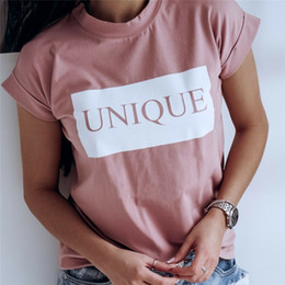 Wholesale Women Fashionable Tops Australia - Women's Short Sleeves T Shirts New Letter Printed Loose Fashionable Tops Wear Ladies' O-neck Summer Casual T-Shirt Hot Selling