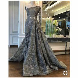 One Shoulder Shirt Organza Australia - One Shoulder Lace Long Sleeve Sheer Mermaid Evening Dresses with Overskirt 2019 Sequined Organza Pageant Gown Sweep Train Prom Dress 2019