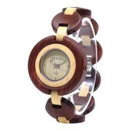 China BEWELL 2019 New Women's Quartz Analogue Ultra Thin Wooden Watch with Wood Bracelet W010A 1pcs  free shipping (Multi-colors) suppliers