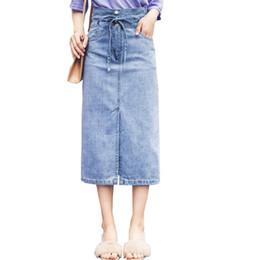 7ac5e73f2 2019 Plus Size 6XL 7XL Women Skirts Lace-Up High Waist A-Line 5XL Women  Long Denim Skirt Big Size Skirt Saias Faldas Jupe