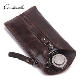 Men Key Case Australia - Contact's 100% Genuine Leather Key Wallet Men Car Key Holder Zipper Keys Case Top Quality Male Man Housekeeper Keys Organizer Y19052202
