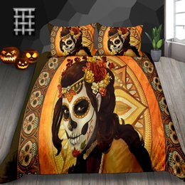 $enCountryForm.capitalKeyWord Australia - Halloween Bedding Set King Tribal Style Beauty Print Scary Duvet Cover For Festival Queen Double Single Twin Bed Cover with Pillowcase