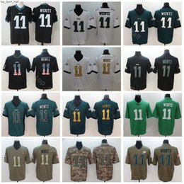 Usa flag jersey online shopping - Philadelphia Eagles Carson Wentz Jerseys Men Black White Green Vapor Untouchable Salute to Service USA Flag Shadow High Quality