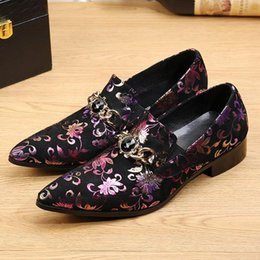 mens velvet dress slippers 2019 - 2018 spring mens shoes genuine leather  elegant flower prints velvet dd53827ad8c9