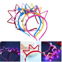 $enCountryForm.capitalKeyWord Australia - 6pcs Crown Headband Creative Shining Beautiful Headband Plush for Girl Kid Child (Random Color, with Button Battery)