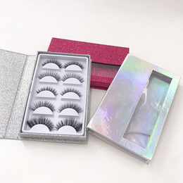 custom eyelashes Australia - 5Pairs Eyelashes Packaging 3D Faux Mink Eyelashes Natural Eye Lashes with Custom Lashes Book Holographic Book Color