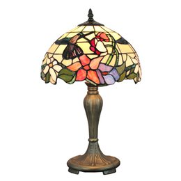 $enCountryForm.capitalKeyWord UK - 12 inch Stained Glass Bedside Desk Light Hummingbird at Floral Table Lamp Leaded Glass (30m) Shade