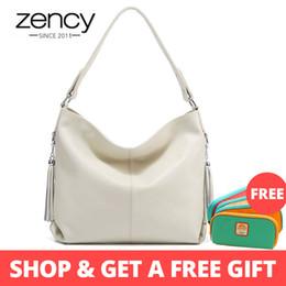 $enCountryForm.capitalKeyWord Australia - Zency Elegant Women Shoulder Bag 100% Genuine Leather Fashion Female Messenger Handbag Tassels Charm White Crossbody Purse Black Y19061705