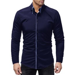 Discount collar bound - Brand 2019 Fashion Male Shirt Long-sleeves Tops Double Collar Door Binding Male Mens Dress Shirts Slim Men Shirt
