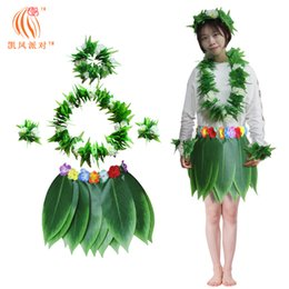 5cf963e9810ba Hula Skirt Hawaiian Costume Set with Green Leaves Necklace Bracelets  Headband for Beach Luau Party Dancing Cosplay Adults Children