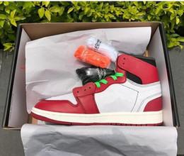 Alta qualità AJ1 New 1 1s Chicago rosso polvere blu UNC uomini e donne Scarpe da basket BIANCO Sport Sneakers in Offerta