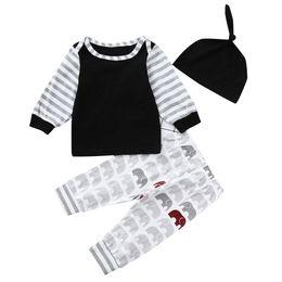 $enCountryForm.capitalKeyWord Australia - good quality Baby clothes Infant Boy Clothing Set 3PCs Striped T shirt Tops Cartoon Pants Clothes Outfits Set children's costume