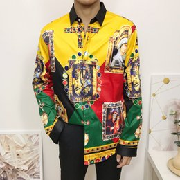 shirt youth Australia - Wholesale new high-end grade trend color matching printing men's youth trend long-sleeved shirt M--2XL