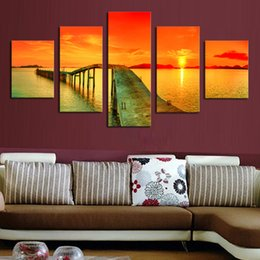 $enCountryForm.capitalKeyWord Australia - Full Square Round Drill 5D DIY diamond painting 5pcs Lake sunset bridge Pictures mosaic Diamond Embroidery Wall Arts J1286