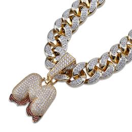 805d71ec4806 18K oro CZ Zircon Big A-Z 26 inicial burbuja carta collar colgante cadena  cubana para hombres letras de diamante lleno Hiphop Rapper joyería regalos
