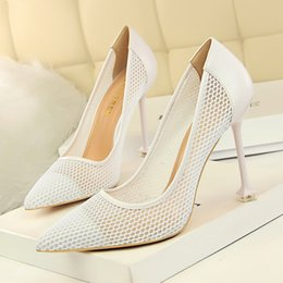 $enCountryForm.capitalKeyWord Australia - Fairy2019 High-heeled Fine High With White Sharp Sexy Evening Show Reverent Reticular Hollow Out Single Shoe Women's Shoes