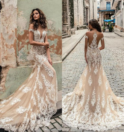 Chinese  Champagne Julie Vino Wedding Dresses 2019 Off Shoulder Deep Plunging Neckline Bridal Gowns Sweep Train Lace Wedding Dress Custom Made manufacturers
