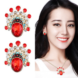 $enCountryForm.capitalKeyWord Australia - Chinese Style Beijing Opera Face Mask Earrings Fashion Hip Hop Personality Red Crystal Zircon Ear Nails Jewelry