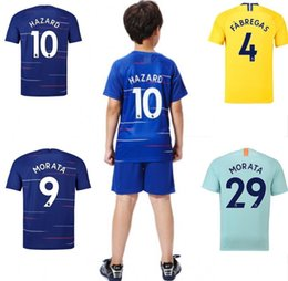 Wholesale kids designer clothes The Blues baby soccer jersey HAZARD MORATA Maillot De Foot boy girls home away third adult Football jersey