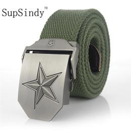 $enCountryForm.capitalKeyWord Australia - SupSindy Canvas belt luxury belt men famous brand belt Military jeans belts Three-dimensional five-pointed star Army green 120cm