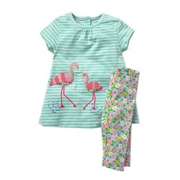 $enCountryForm.capitalKeyWord Australia - Jumping Meters Applique Flamingo Baby Clothing Sets For 2-7t Girls Clothes Summer Cotton Stripe 2 Pcs Set Hot Selling Suits Girl Q190523
