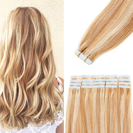 20pcs 14-24 inch Tape in Hair Extensions Human Hair Invisible Seamless Skin Weft Tape Remy Human Hair Piece Natural Straight for Women on Sale
