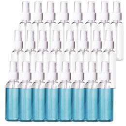 Bottiglie 24 Confezione 2 once bottiglie di plastica trasparente a spruzzo ricaricabile 60ml ricaricabile Belle atomizzatore per oli essenziali di viaggio in Offerta