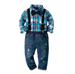 China Kids Boys 4 Piece Suspenders Outfits Long Sleeve Cotton Plaid Shirt Tops Jeans Pants Clothing Set Toddler Boys Kids Boutique Clothing cheap jeans kids suspenders boys suppliers