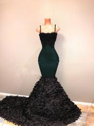 Sexy Straps Australia - Sexy Spaghetti Straps Train Emerald Green Prom Dresses Black Girls Black Lace Appliques Beaded Long Evening Dresses robe de soiree Robes
