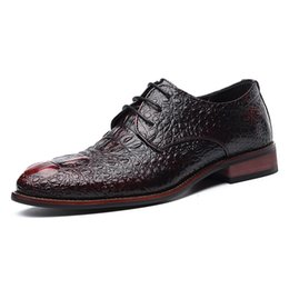 hand made leather shoes men Australia - Hand-made Casual Flats Genuine Leather Men Shoes Crocodile Pattern Men Business Oxfords Male Leather Shoes