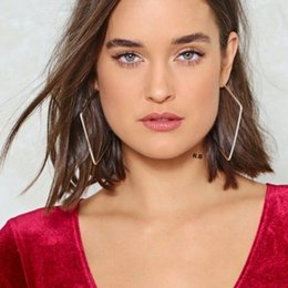 square hoop earrings for women 2019 - Geometric Big Square Hoop Earrings for Women Elegant Classic Ear Pendientes Hombre Bohe Lady Gift cheap square hoop earr