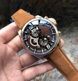 Wholesale The New Wristwatches Men Designer Fashion Men s sports Watch Chronograph Male clock Brown leather Mens Watches relojes Military waterproof