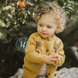 Knitting flower designs online shopping - Winter Girl clothes Sweater Cardigan Good Design Stereo Flower Winter Knitted Long Sleeve sweater coat Warm Kids top fall sweaters