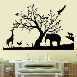 $enCountryForm.capitalKeyWord Australia - Black Safari Wall Decals Vinyl Self-adhesive Removable Forest Animals Nature Wall Sticker Murals for Living Room Home Decor