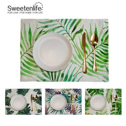 Kitchen Place Mats Australia - Tropical plants Insulation Placemat Dinner Kitchen Pad Cotton Linen Creative Coaster Coffee Place Mat Accessories 46X33CM