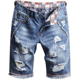 b01f82dc89 Men Denim Jeans Shorts Hole wash Pants Simple casual Comfortable Male  Destroyed hip pop short Jeans AAA1966