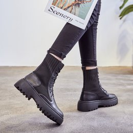 boots footwear sale NZ - Hot Sale- short ankle autumn winter boots cow genuine leather casual lace up female ladies work 5.5cm height increasing shoes footwear