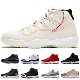 bb61174055c34f 11 XI 11s Platinum Tint Men Basketball Shoes Cap and Gown Prom Night Gym  Red Bred Barons Concord 45 Cool Grey mens sports designer sneakers