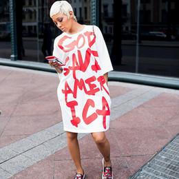 $enCountryForm.capitalKeyWord Australia - Letter Print White Casual For Women Fashion Rock Half Sleeve Loose Everyday Dresses Knee Length Oversized T Shirt Dress J190621