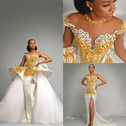 $enCountryForm.capitalKeyWord Australia - Luxury Off Shoulder Gold Beaded Mermaid Wedidng Dress With Detachable Train Vintage Crystal Saudi Arabia Bridal Gowns Country Wedding Dress