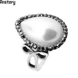 Ring Pearl Celtic Australia - Fashion Jewelry Water Drop Pearl Rings Rhinestone Rings For Women Antique Silver Plated Fashion Jewelry