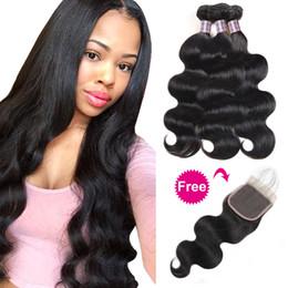 Discount burgundy human hair straight - Buy 3Bundles Body Wave Get A Free Closure Deep Loose Brazilian Human Hair Bundles Loose Wave Yaki Straight Deep Wave Wat