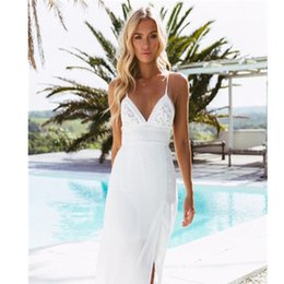 halter tees Australia - Boho Women Long Dress Backless Halter V Neck Maxi Beach Bohemia Dresses Sundress White Tee Neck Sleeveless Dress