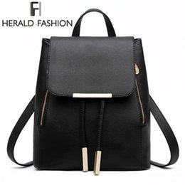 tops school girls UK - Women Backpack High Quality PU Leather Mochila Escolar School Bags For Teenagers Girls Top-handle Backpacks Herald Fashion