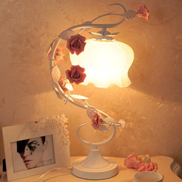 $enCountryForm.capitalKeyWord Australia - Romantic Rose Glass Light Table Lamp Metal Vine Frosted Glass Lampshade Bedroom Bedside Desk lamp Wedding Princess Desk Lamps
