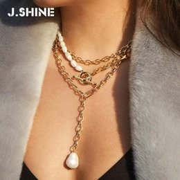 type gold color Australia - JShine Two-types Punk Imitation Pearl Choker Necklace Collar Statement Gold Color Circle Bar Pendant Necklace for Women Jewelry